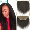 Kinky Straight 13*6 Lace Frontal Closure With Baby Hair Brazilian Lace Frontal Closure Coarse Yaki Ear To Ear Lace Frontals
