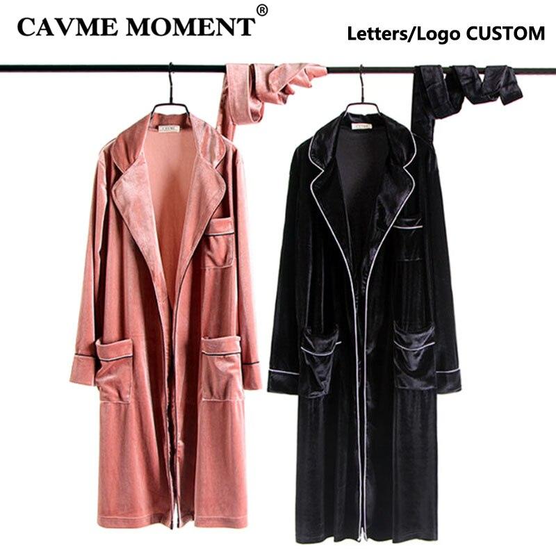 CAVME personalizado albornoces de boda bata de dama de honor de la novia Kimono bata de noche bolsillo terciopelo ropa de dormir vestido para casa regalo de boda