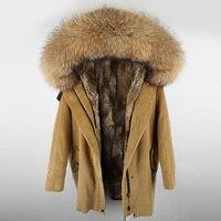 Maomaokong 2018 зима натуральный подкладка из кроличьего меха куртка Женская парка пальто с мехом вельвет натуральный мех енота воротник Теплые Д