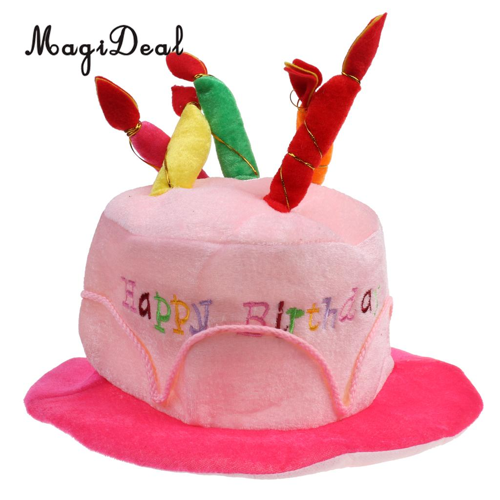 MagiDeal Happy Birthday Plush Party Cake Hat Candles Gift Fancy Dress Adults Children Celebration