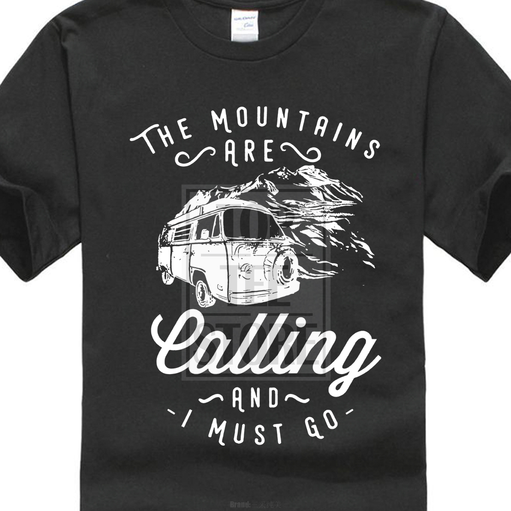 New 2018 T Shirt Custom Printed Personalized The Mountains Are Calling Motorhome Travel Adventure Quote Gift Mens Tee Shirt