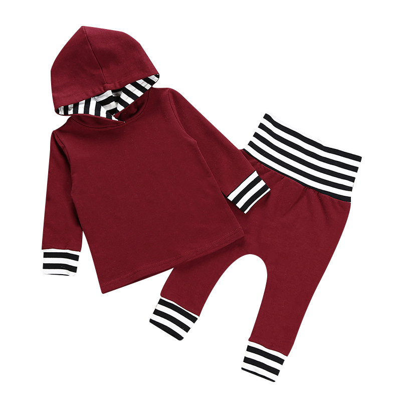 2PCS Newborn Baby Boys Girls Clothes Set Hooded Long Sleeve Tops+ Pants Toddler Infant Outfits Clothing Set Winter Autumn 2017 cotton baby rompers set newborn clothes baby clothing boys girls cartoon jumpsuits long sleeve overalls coveralls autumn winter