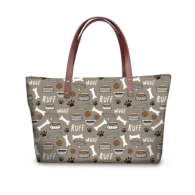 FORUDESIGNS Women Handbags Set Large Tote Dog Bone Paw Pattern with Wallets Purse Shoulder Bag Zipper Sac A Main Femme 2018 New