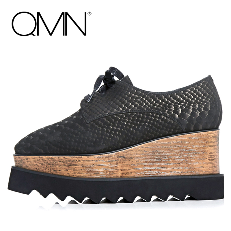 QMN women platform flats genuine leather Women Lace Up Flat Shoes Woman Creepers With Snake Pattern Ladies Shoes Zapatos Mujer qmn women laser cut genuine leather platform flats women square toe height increasing brogue shoes woman flats creepers 34 39