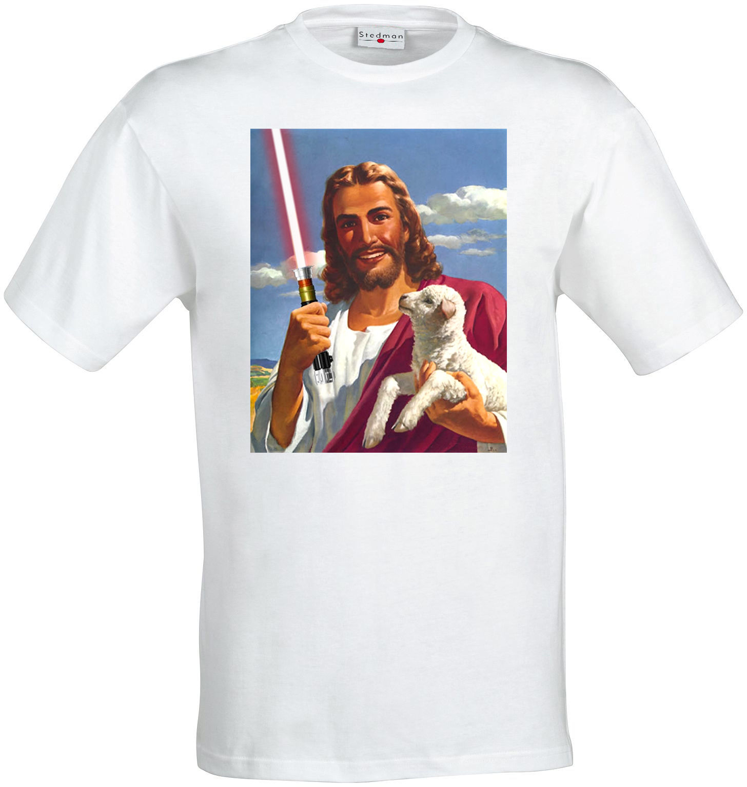 Jedi Jesus holding a Lightsaber funny art men (woman available) t shirt white