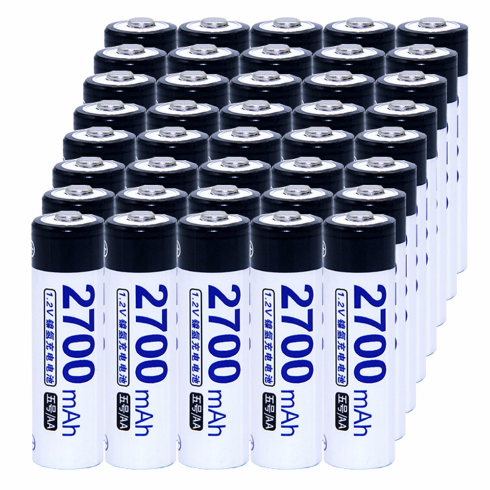 40 pcs AA portable 1.2V NIMH AA rechargeable batteries 2700mah for camera razor toy remote control flashlight 2A batterie