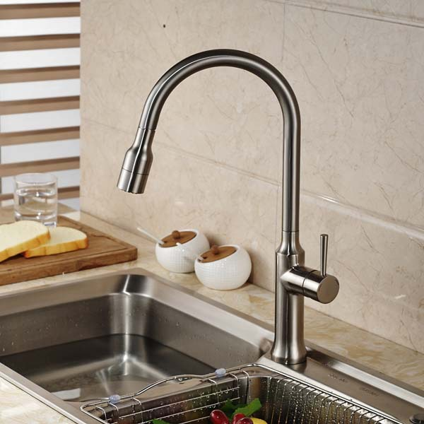 Deck Mounted Brushed Nickel Kitchen Faucet Tall Vessel Sink Mixer Tap Deck Mounted Swivel Spout led spout swivel spout kitchen faucet vessel sink mixer tap chrome finish solid brass free shipping hot sale
