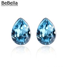 BeBella маленькая серьга-гвоздик капля 0,8 см, серьги с кристаллами Swarovski для женщин, девушек, жены, модное ювелирное изделие, Рождественский подарок