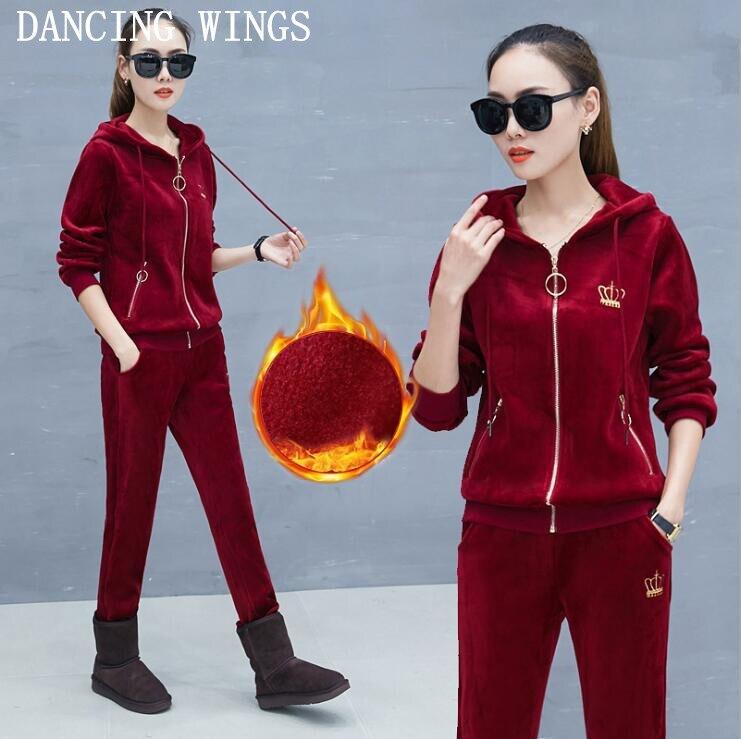 Or velours sportswear 2019 automne et hiver plus velours femmes ensembles décontracté à capuche or velours femmes survêtements