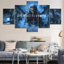 Home Decorative Modular Picture Canvas Painting 5 Piece Music Avenged Sevenfold Poster Wall Art For Living Room Modern Artwork
