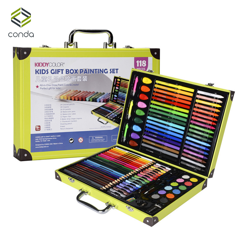 Conda 118pcs/set Deluxe Art Set for Kids in Colorful Paper Case Children Student Art Supplies Crayon Watercolor Oil Painting Set монитор жк aoc value line i2369vm 00 01 23 серебристый черный