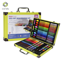 Conda 118pcs/set Deluxe Art Set for Kids in Colorful Paper Case Children Student Art Supplies Crayon Watercolor Oil Painting Set
