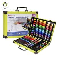 Conda 118pcs/set Deluxe Art Set for Kids in Colorful Paper Case Children Student Art Supplies Crayon Watercolor Oil Painting Set