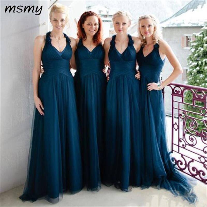 Elegant Halter V Neck Simple Navy Blue Bridesmaid Dresses A Line Floor Length Cheap Maid Of Honor Gowns