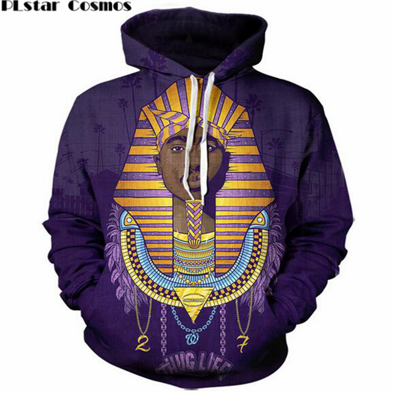 PLstar Cosmos 2017 New fashion 3D Hooded sweatshirts Legend Rapper Tupac 2Pac print Men/Women Hoodies Hip hop style Pullovers