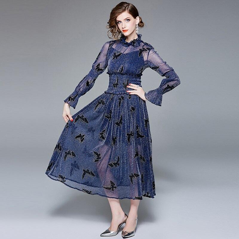 ff1027825dad Ligne Longues Troupeau Maille 2018 Qualité Lady Parti Femmes Bleu Taille  Haute Nouvelle Office Robe Une ...