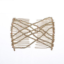 Women Pearl Beads Elastic Hair Combs Double Slide Magic Bun DIY Hairstyle Making Tool Metal Novelty Hair Clip Accessories G0302