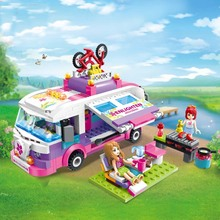 City Girls Princess Outing Bus Car Building Blocks Sets Bricks Model Kids Classic Toys Compatible Legoings Friends