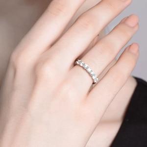 Image 4 - Anillo romántico de plata 925, joyería de moissanita, anillo de aniversario de fiesta de boda de corte excelente redondo