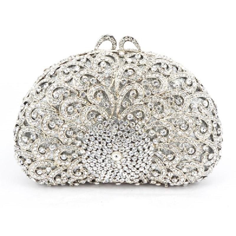 ФОТО 8350A-Silver Crystal Flower Floral Bridal Party hollow Metal Evening purse clutch bag case box handbag