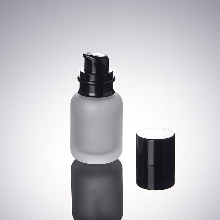 50ML Frosted Lotion Bottle Black Pressure Black Cover Cosmetic Glass Cream Divided Travel Bottle 100PCS LOT