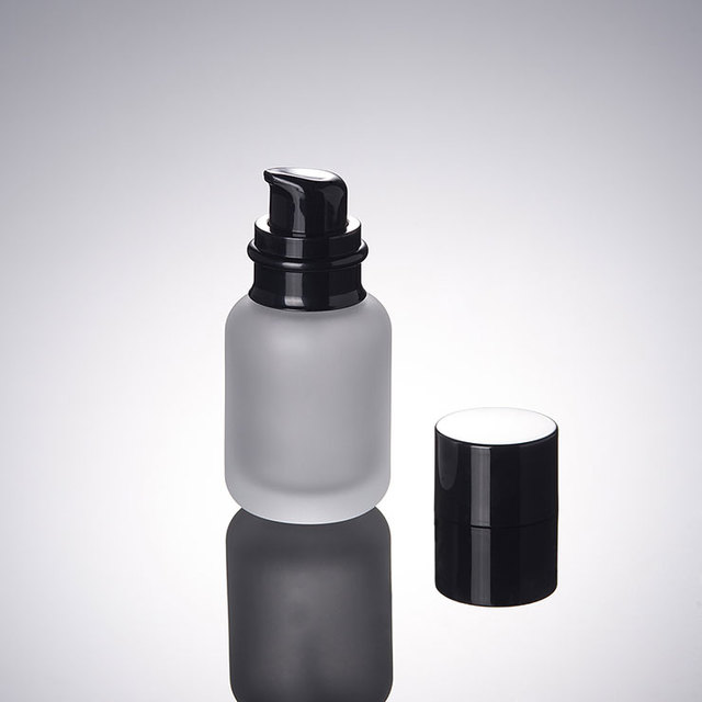 50 мл замороженный Лосьон бутылка черного давления черная крышка Косметический Стеклянный крем разделенная Бутылка для путешествий 100 шт./лот