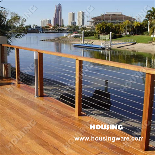 Outdoor stainless steel wire railing designed for deck on for Garden decking handrails