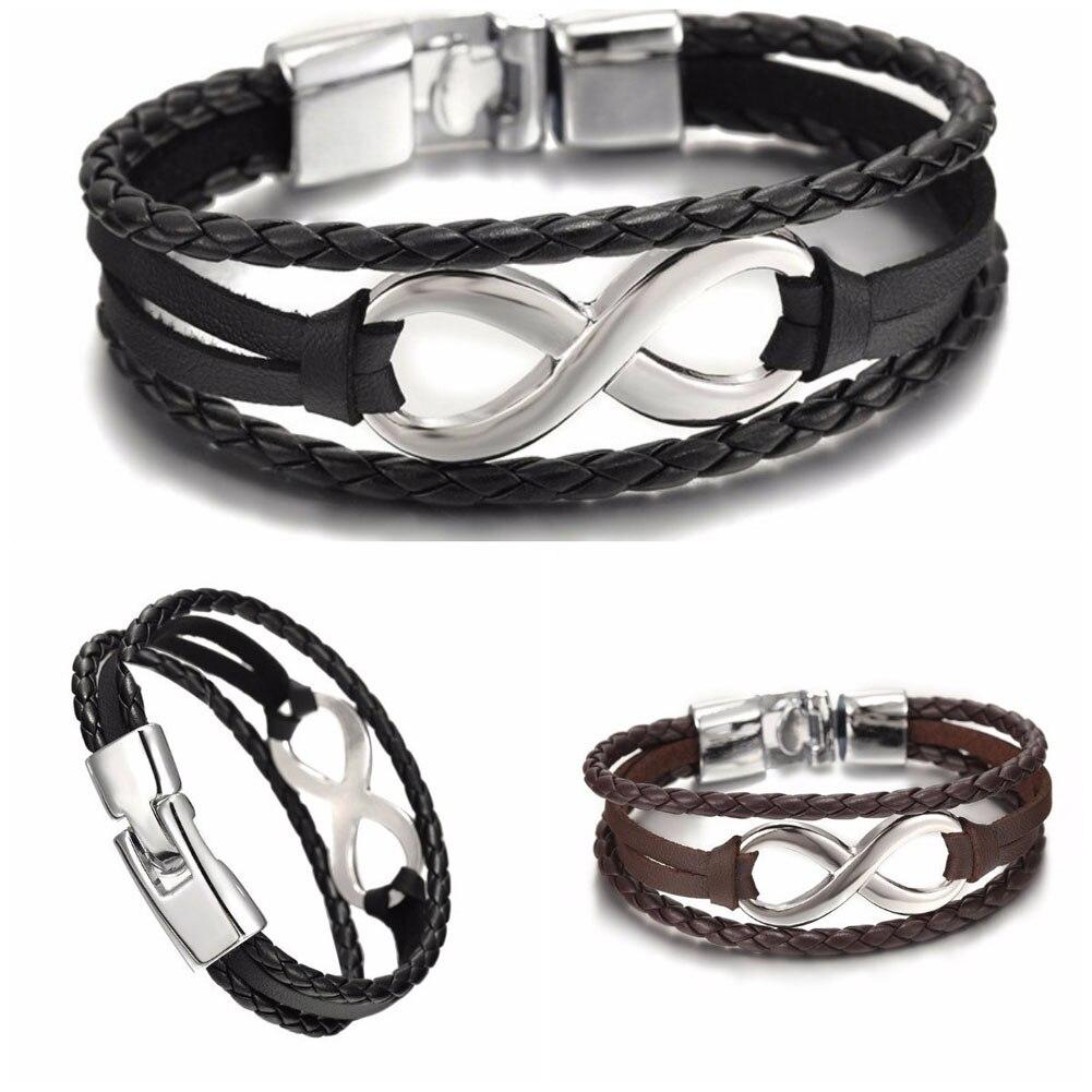 Chain & Link Bracelets 2018 New Fashion Novelty Digital 8 Leather Bracelets Famous Womens Multilayer Bandage Brand Friendship Charm Bracelet For Men 100% High Quality Materials