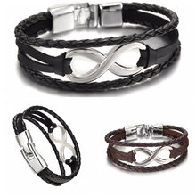 1PC New Fashion High Quality shaped Leather Bracelets Vintage Diy Bandage Brand Charm Men Women Bracelets Bangles(China)