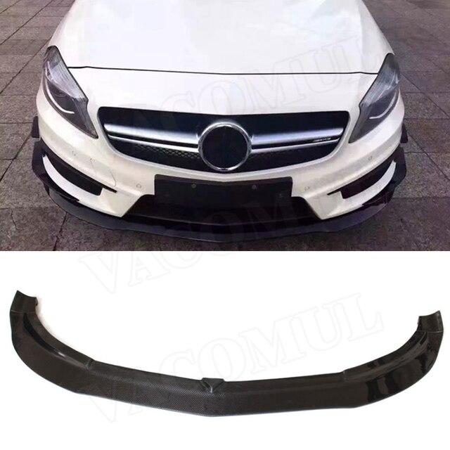 Pour W176 aileron de lèvre avant en Fiber de carbone pour Mercedes Benz A classe RZ Style A180 A200 A260 A45 2013-2015 protège-menton de pare-chocs de voiture