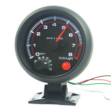 3.75 inch Car Black  shell White blacklight Tachometer gauge RPM car 0-8000 rpm For 4.6.8 cylinder  warning function
