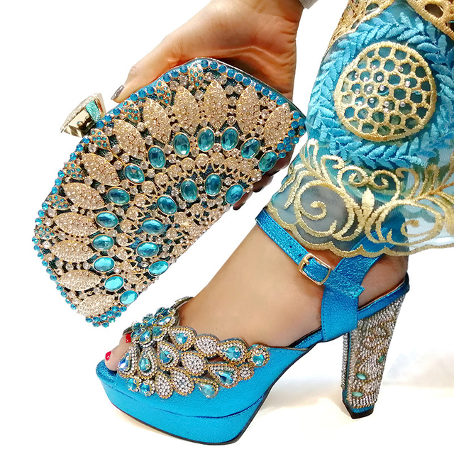 2019 Italian Matching Shoes and Bag Set Blue Color Italy Shoe and Bag Set Decorated with Rhinestone African Women Italian Shoes