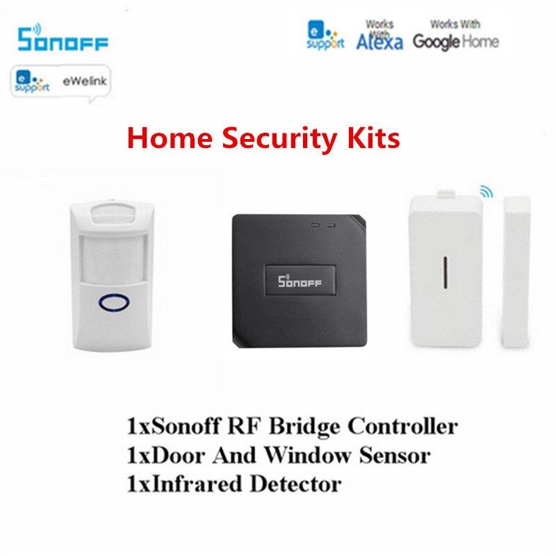 US $5 98 18% OFF|Sonoff RF Bridge 433/PIR2 PIR Sensor+DW1 Door &Window  Alarm Sensor Smart Home Automation Work With Alexa Google Home Ewelink  APP-in