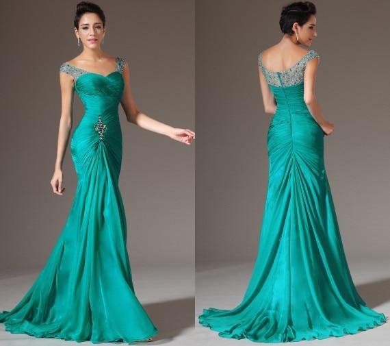 Hot Sale Green Color 2018 vestido de noiva Sheath Floor Length Long Pleats Crystal Chiffon Formal Prom Gown   bridesmaid     dresses