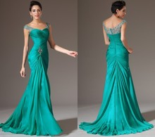 Hot Sale Green Color 2015 New Sheath Floor Length Long Evening Dresses With Pleats Crystal Chiffon Formal Prom Gown Dress