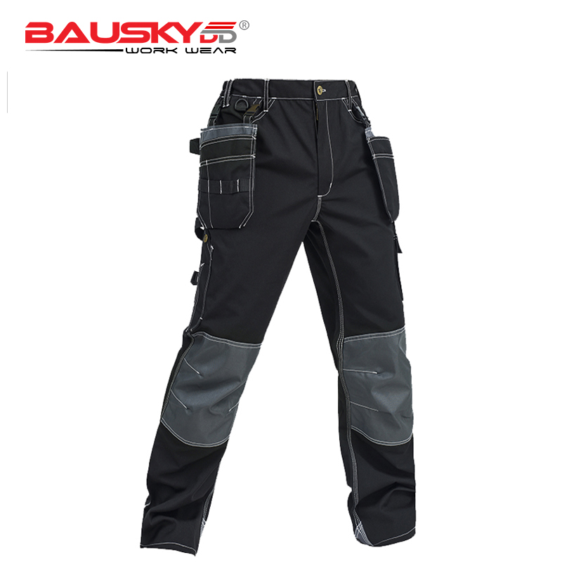 Bauskydd High Quality Men's black Cargo Pants Casual Pant Multi Pocket for Men Outdoors working Trousers outdoor loose fit straight leg multi pocket solid color zipper fly cargo pants for men