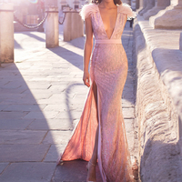 Missord 2019 Women Sexy Deep V Off Shoulder Glitter Dresses Female High Split Elegant Feather Dress FT19565