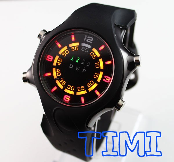 TVG Black Fashion Silicone Binary LED Watch Mens Sport ...