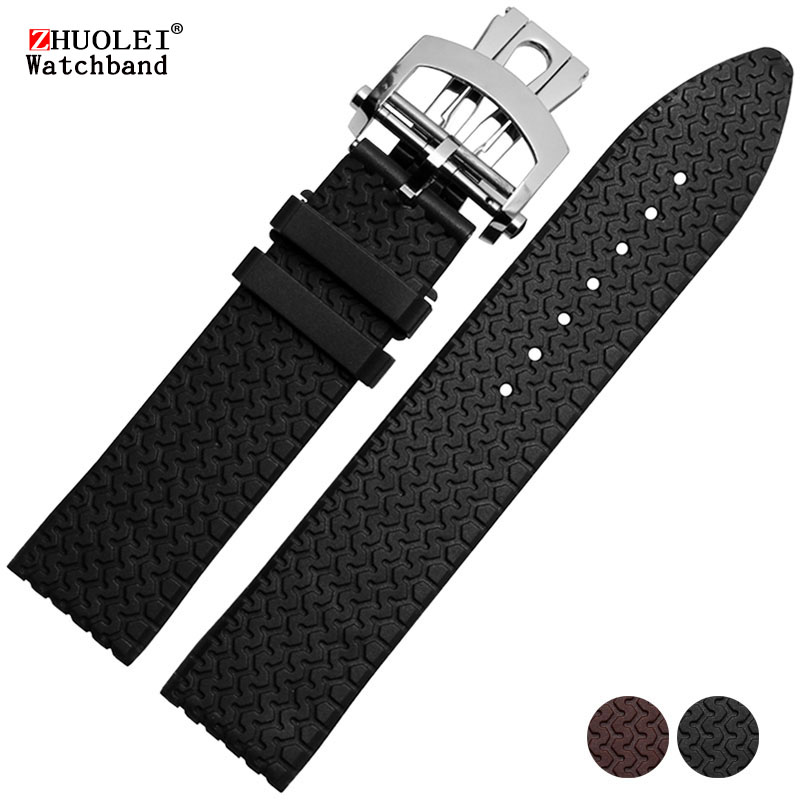 23mm black brown rubber watchband for men's Chopin Waterproof sports watch strap with stainless steel deployment buckle Bracelet цена