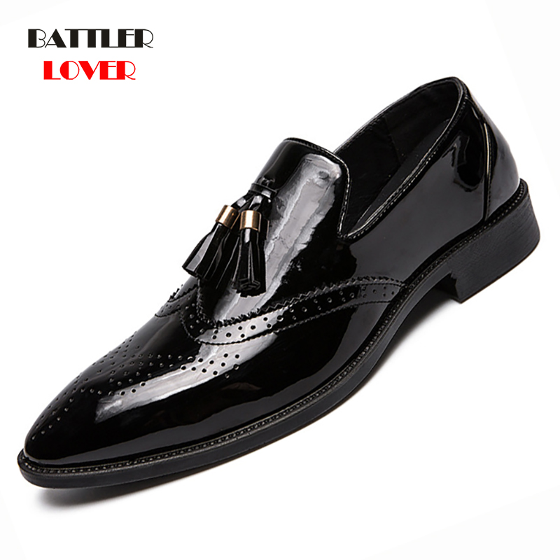 2019 Leather Formal Men Dress Shoes Genuine Leather Shoe Mens Brogue Shoes Flats Oxfords For Men Wedding Office Business Shoe