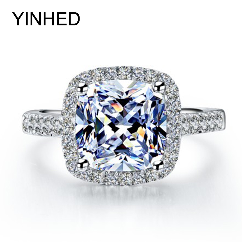 yinhed hot sell wedding rings for women 4 carat princess cut cubic zirconia cz diamond engagement - Selling Wedding Ring