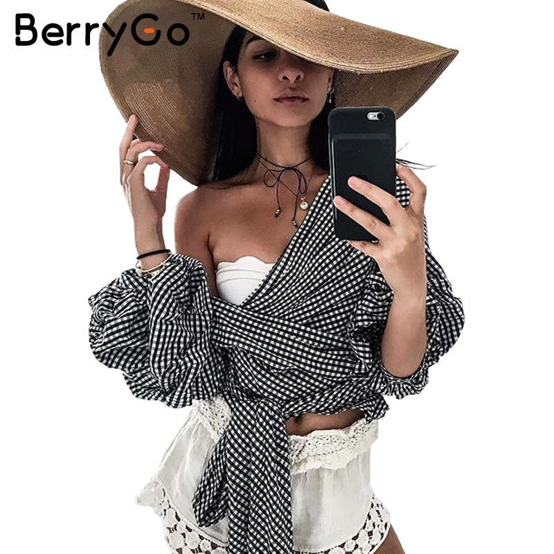 BerryGo Off shoulder ruffle white blouse Sexy cotton cool blouse shirt women Winter 2016 female strappy top tees blusas