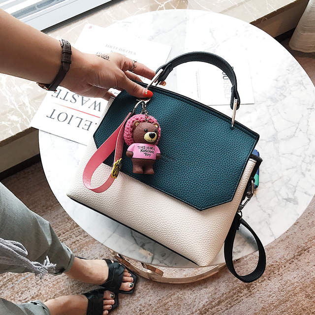 cade0acf21cf 2019 Fashion Cute Small Handbags Pu leather Women Famous Brand With Toys  Crossbody Bags PatchWork Female Messenger Bags 613