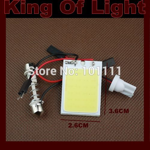 1x high quality Free shipping T10 BA9S Festoon 3 Adapters COB 24 chips white Light 12V LED reading Panel Car interior Dome light