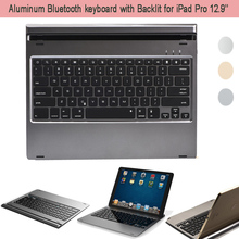 HOT Matel Clamshell Laptop Style Wireless Bluetooth Keyboard Cover For Apple iPad Pro 12 9 Case