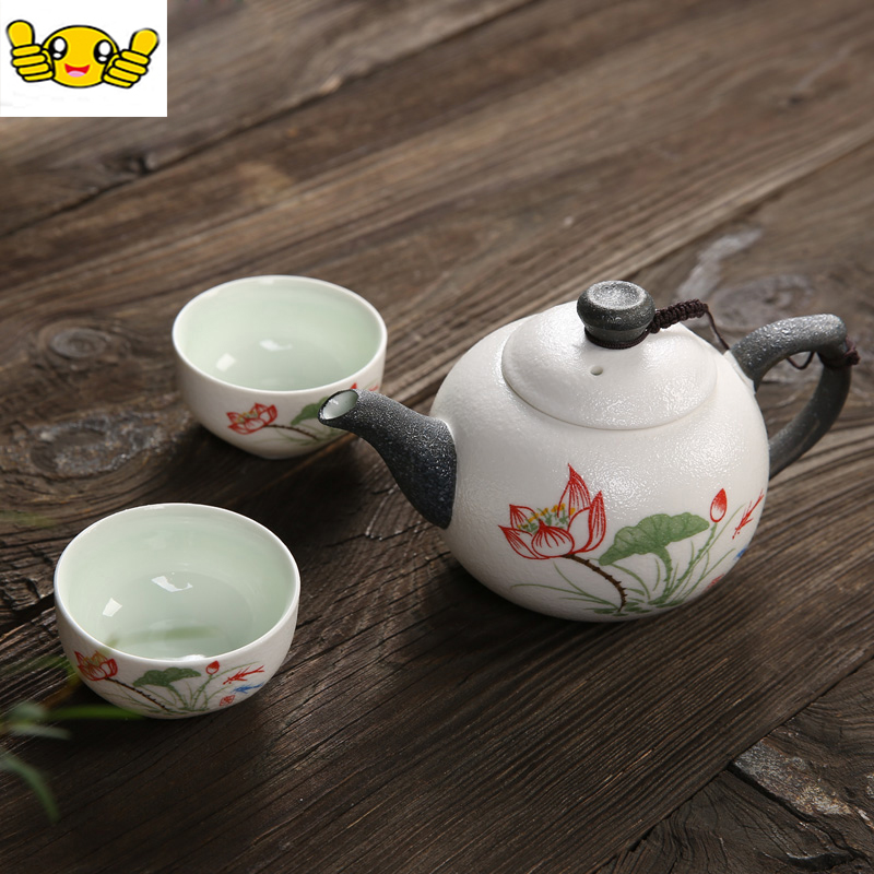 hot sales ceramic tea set includes 1 pot 2 cups chinese characteristics lotus flower teapot. Black Bedroom Furniture Sets. Home Design Ideas