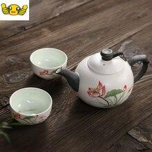 Heiße verkäufe Keramik Tee-set, enthält 1 topf 2 tassen, chinesische eigenschaften Lotus blume teekanne teetasse, kung fu tee-set geschenk