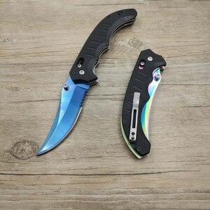 Image 3 - Dropshipping Tactical CSGO prawdziwa składana klapka nóż znikną kolory ostrze niebieski taktyczny nóż turystyczny do przeżycia G10 uchwyt