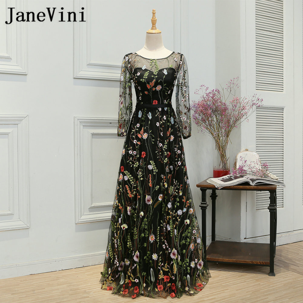 JaneVini Long Sleeve Black   Bridesmaid     Dresses   Girl Lace Embroidery Tulle Women Formal   Dress   Wedding Party Gowns Floor Length