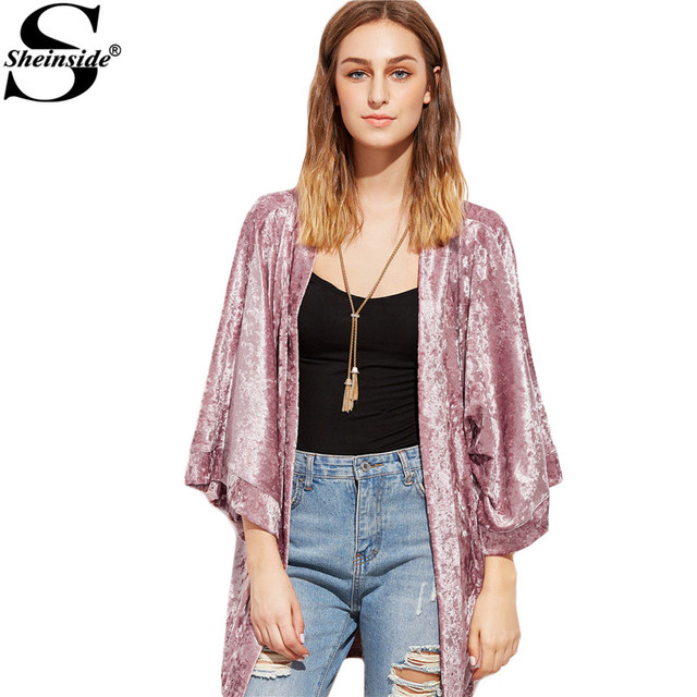 Sheinside Womans Tops Casual Womens Fashion Clothing Womens Shirt and Blouses Pink 3/4 Sleeve Crushed Velvet Kimono